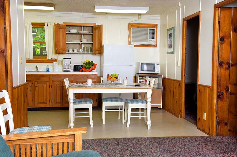 Cabin kitchen with table, refrigerator and microwave
