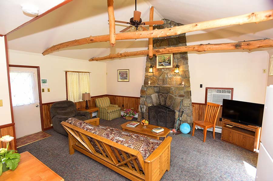 Adirondack Lodge Sitting Area with futon, flat screen TV, and rustic stone fire place